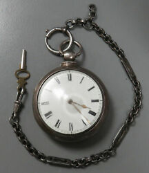 1858 English Sterling Silver Verge Fusee Pair Case Pocket Watch Original Chain