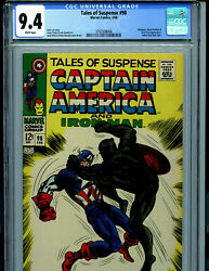 Tales Of Suspense 98 Cgc 9.4 1968 White Pages Marvel Comic Amricons K29