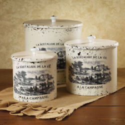 New French Country Farmhouse Set 3 Homestead Farm Canister Container Campagne