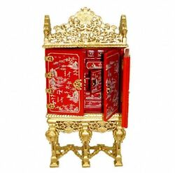 Dollhouse Bespaq Gilded Red Asian Gibbons Cabinet Handpaint Doll House Miniature