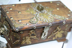 Vintage Handmade Middle East Treasure Coin Jewelry 9 Decor Wood Box Brass Work