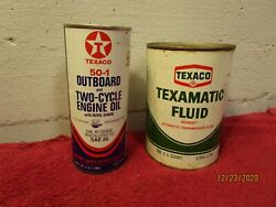Lot Of 2 Vintage Texaco Metal Cans Full Texamatic Fluid 50-1 Outboard Oil Garage