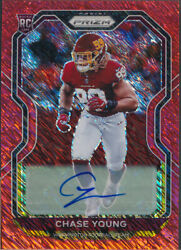 2020 Panini Prizm Rookie Autographs Red Shimmer 383 Chase Young 01/35