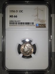 1956 D Roosevelt Dime Ms66 Ngc Graded Silver Us Coin Great Toning 2