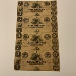 1800's Georgia 4 Attached 5 Obsolete Currency Bank Of Augusta, Augusta Ga