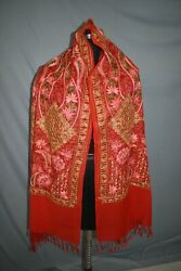 Embroidered 100 Cashmere Heirloom Shawl. Crewel Embroiderypashmina Scarf