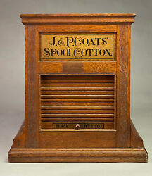 An Exceptional J.p. Coats Rotating Oak Spool Cotton Display Cabinet.