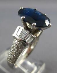 Large 5.72ct Diamond And Aaa Sapphire 14kt White Gold Oval Engagement Ring 27223