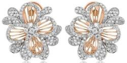 Large .95ct Diamond 14kt White And Rose Gold Flower Fun Clip On Hanging Earrings
