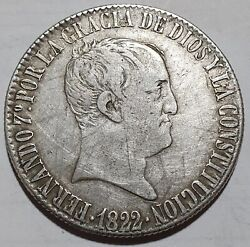 Extra Scarce 1822 20 Reales Madrid Colonial Silver Coin Ferdinand Vii 26.85g Rrr