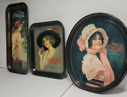 Vintage Coca Cola Trays 1978 1914 Betty Girls Set Of 3 Rare Collectible