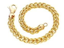 18k Yellow Gold Bracelet Byzantine Round Tube Link 6.5mm 19cm Made In Italy