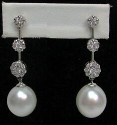 Stunning 18k Gold With 13mm Tahitian Pearl And Diamond Chandelier Earrings