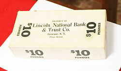 Vintage Lincoln National Bank Coin Roll Box 10 Pennies Box Only