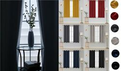 Thick Thermal Blackout Curtain Eyelet Pair Ring Top Tie Back Ready Made Curtains