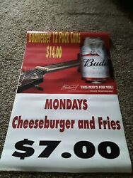 Vinyl Beer Sale Signs, Used With Slight Ware. Budweiser, Bud Light, Busch. 38x24