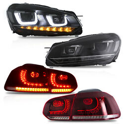 Bundle For 10-13 Golf Mk6 12-13 Golf R Headlights + Red Clear Tail Lights