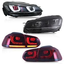 Headlight W/ Demon Eyes+smoked Red Taillight For 10-13 Golf Mk6 12-13 R