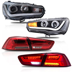 For 08-17 Mitsubishi Lancer Headlights W/drl Single Beam+red Clear Taillights