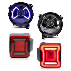 Vland Modded Led Headlights+ Red Clear Taillights For 18-20 Jeep Wrangler