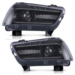 Vland Modded Led Headlights With Drl Sequential Turn Sig. For 2011-2014 Charger
