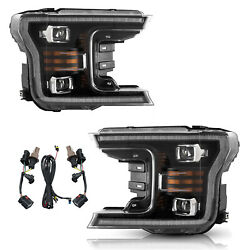 For 18-20 Ford F-150 Full Led Projector Headlights Assembly W/ Sequential Turn