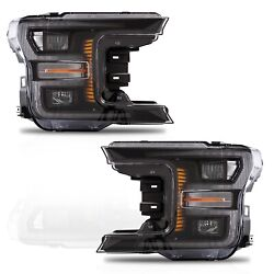 Vland Modded Black Full Led Headlights W/ Sequential Turn Signal For 18-20 F-150