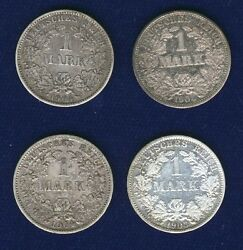 Germany Empire 1 Mark Silver Coins 1903-a 1904-e-f-g Lot Of 4 Mostly Xf