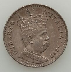 Italy Colonial Eritrea Umberto I 1890-r 1 Lira Silver Coin Almost Uncirculated