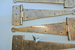 4 Large Hinges Screws Old Aged Style Cast Solid Brass Door Box Heavy 26cm Long B
