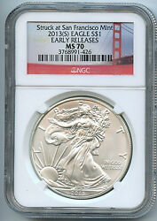 2013 S Silver American Eagle Dollar Ms70 Ngc Er Certified Coin San Francisco Sb1