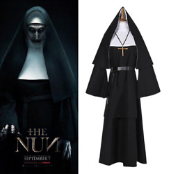 The Nun Valak Demon Nun Cosplay Costume Full Set Halloween Outfits New