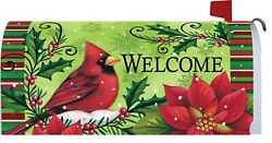 Christmas Winter Snow Cardinal Poinsettia Holly Magnetic Mailbox Cover