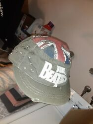Beatles Cap Hat Military Style Flat Top Cotton Fitted Buckle Embellished Nice