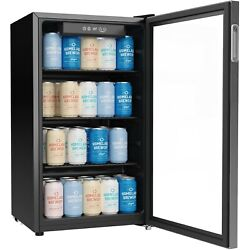 Beverage Refrigerator And Cooler - 120 Can Mini Fridge With Glass Door