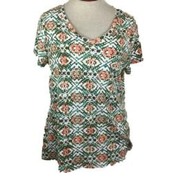 Relativity Knit Top Size 1x Brown Pink Floral V Neck Short Sleeve Cotton