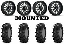 Kit 4 Itp Cryptid Tires 34x10-18 On Fuel Stroke Gloss Black Wheels 550