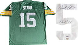 Bart Starr Hof 77 Autographed Green Bay Packers Authentic Jersey Psa