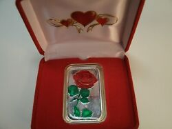 A Very Special Gift 1 Troy Oz .999 Silver Red Rose Bar+ Red Velour Pres Cs+