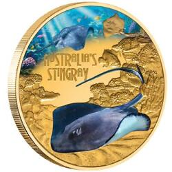 Niue 100 Dollar 2021 - Deadly And Dangerous Stachelrochen In Farbe - 1 Oz Gold Pp