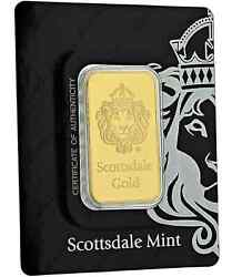 Buyinvestmt/gift 1 Troy Ounce Scottsdale Mint Gold Barw/lion Hd In/certi-lock