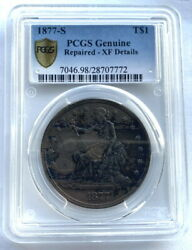 United States 1877-s Trade Dollar Pcgs Xf Silver Coin
