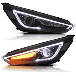 Fits 2015-2018 Ford Focus Led Headlights W/drl Sequential Turn Sig. Assembly
