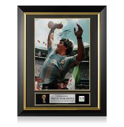 Diego Maradona Official Fifa World Cup Signed And Framed Argentina Photo 1986 W