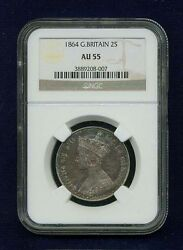 Great Britain England Victoria 1864 1 Florin Silver Coin Ngc Certified Au-55