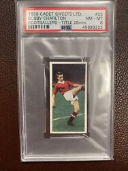 1958 Cadet Sweets Footballers Title 28mm Bobby Charlton True Rookie Rc Psa 8 25