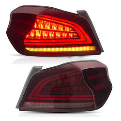 Fit For 2015-2019 Subaru Wrx/sti Red Led Tail Lights Assembly W/ Sequential Turn