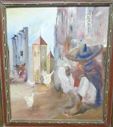 Joseph P. Mexican Town With Chickens Oil On Canvas Landscape Painting 1981