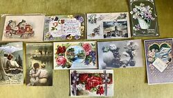 Lot Of 10 Fabulous Early Antique Embossed Postcards To Collect Or Display