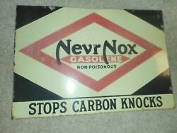 Vintage Porcelain Nevr Nox Diamond Dx Gasolene Gas Station Oil Advertising Sign